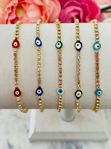 18k real gold plated and Cz evil eye bracelets