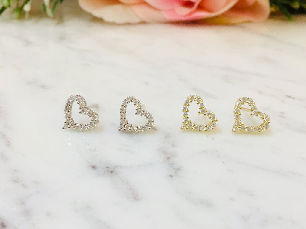 .925 Sterling Silver Heart Earrings