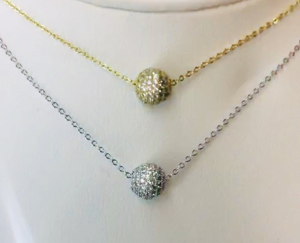 .925 Sterling Silver Ball Necklace