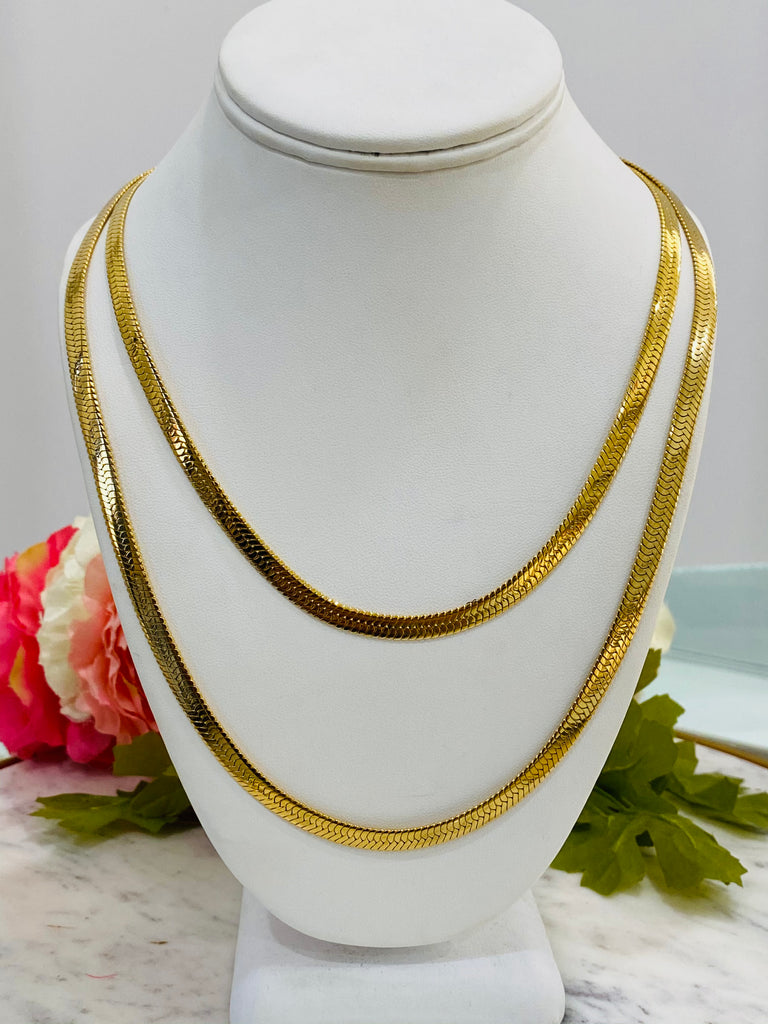 "Stainless Steel 20"" or 24"" herringbone minimalist necklace"