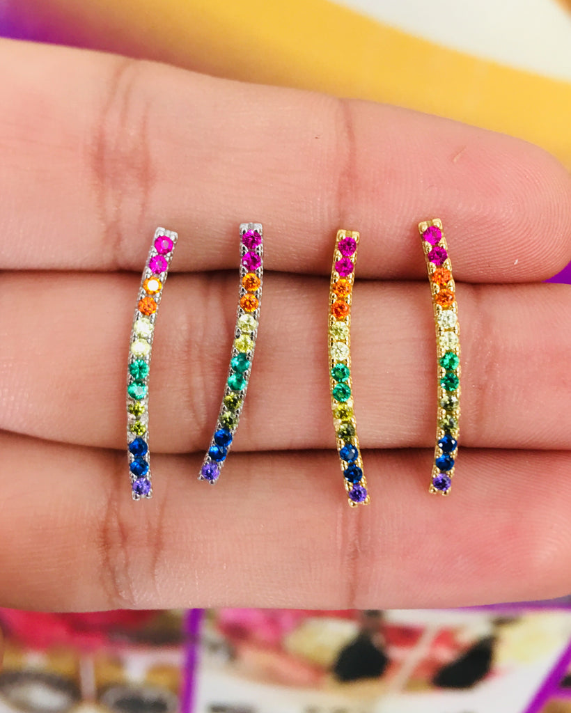 .925 Sterling Silver Multicolor Bar Earrings