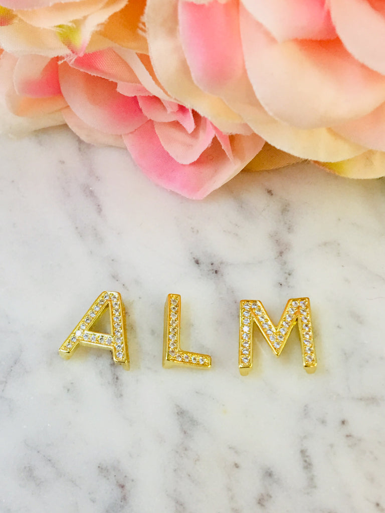 Rhodium Plated Gold Initial Charm