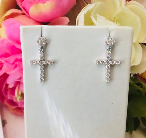.925 Sterling Silver Dangling Cross Earrings