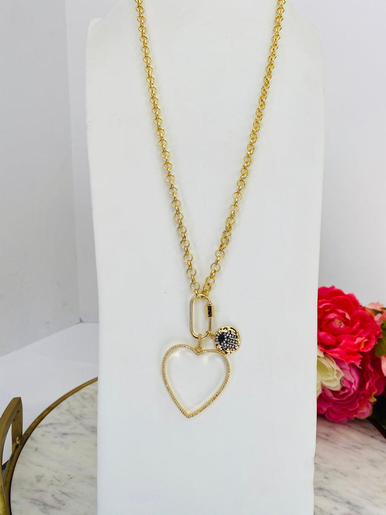 18k real gold plated heart and hamsa hand long necklace