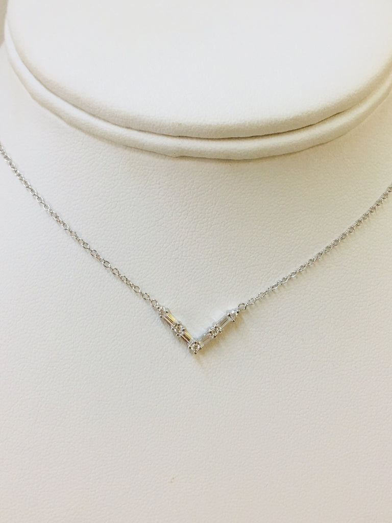 .925 Sterling Silver V Necklace