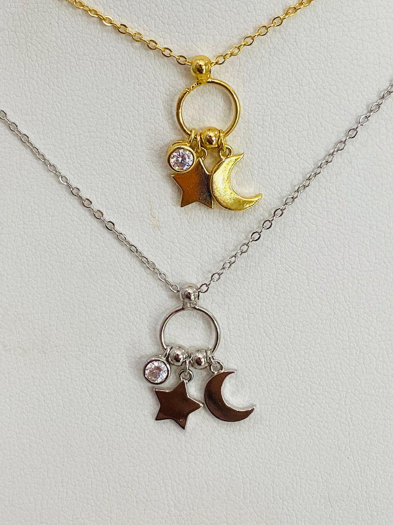 .925 Sterling Silver Moon, Star, And Cz Dangling Necklace