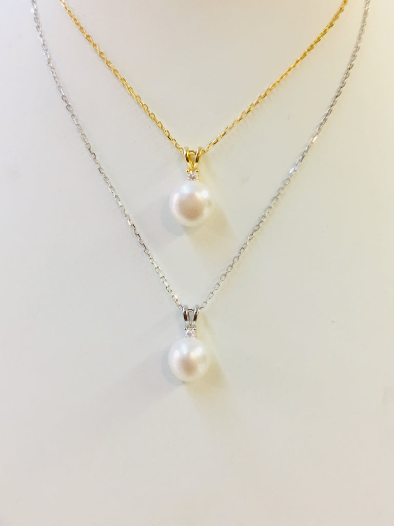 .925 Sterling Silver Pearl Necklace