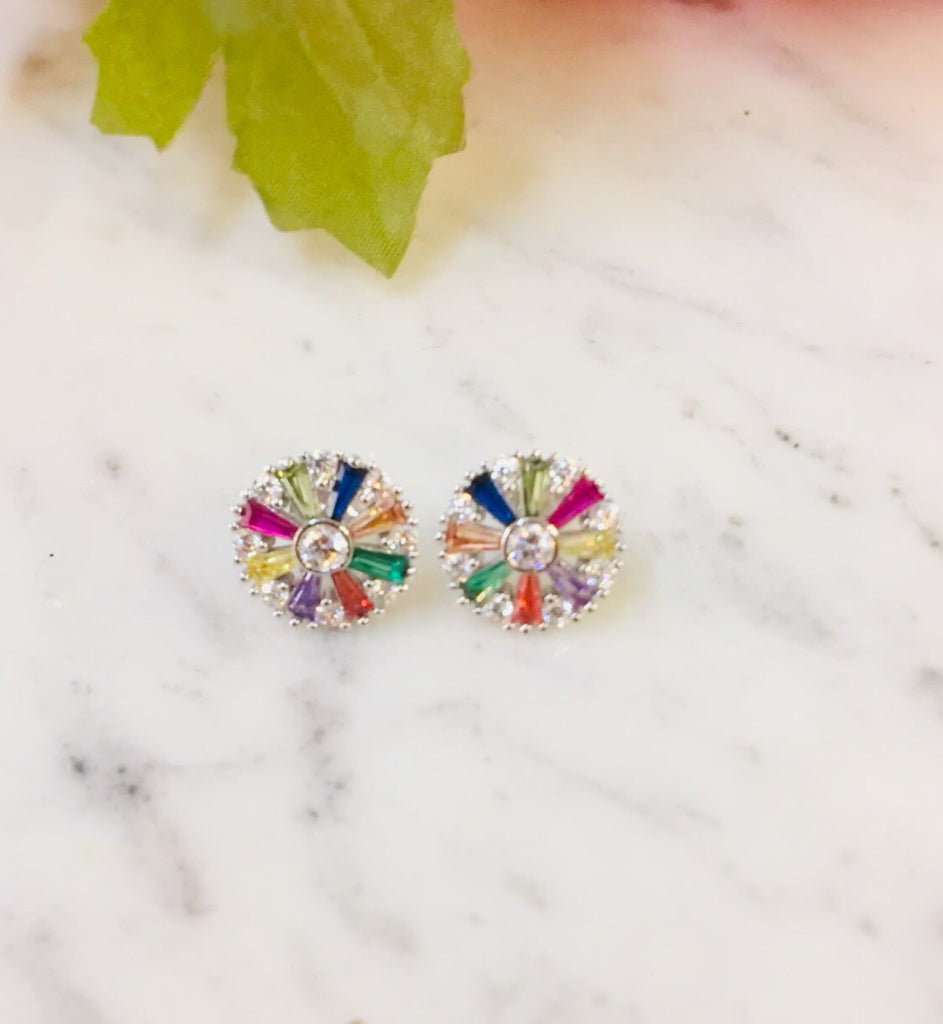 .925 Sterling Silver And Cz Multicolor Earrings