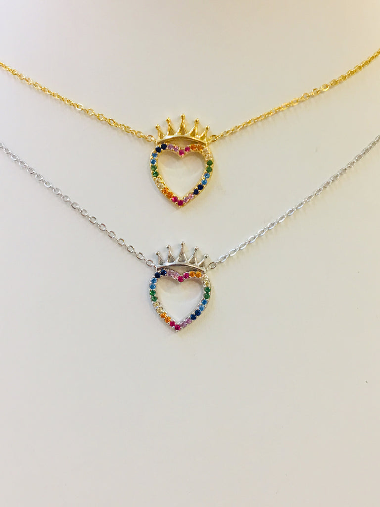 .925 Sterling Silver Multicolor Heart With Crown Necklace