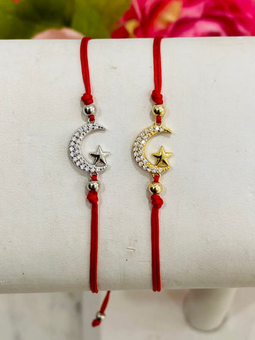 .925 Sterling silver moon and star adjustable bracelets