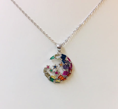 .925 Sterling Silver And Cz Multicolor Moon And Stars Necklace