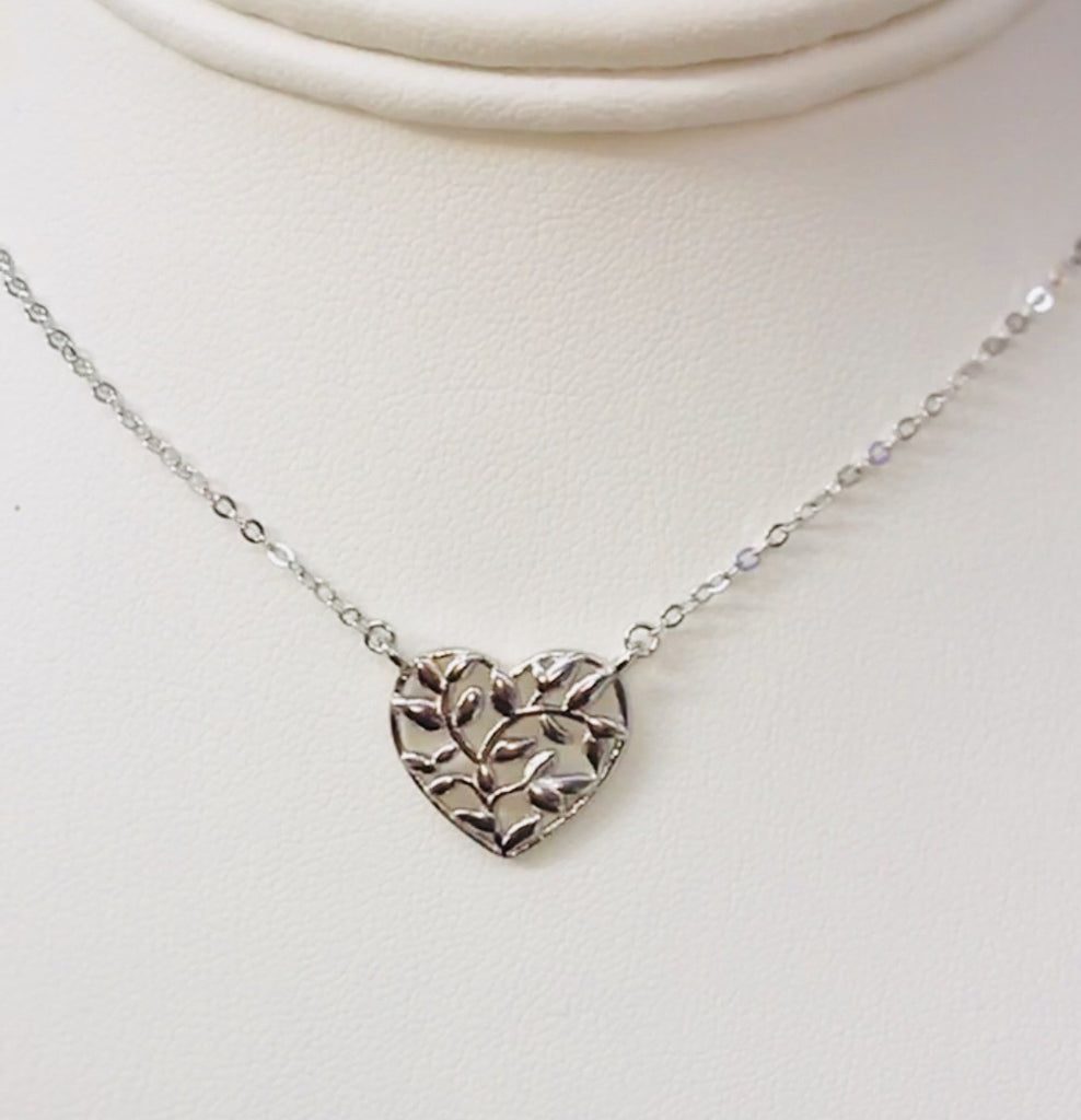 .925 Sterling Silver Heart Necklace