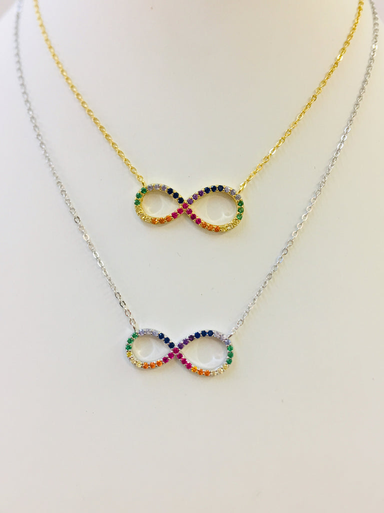 .925 Sterling Silver Infinity Rainbow Necklace
