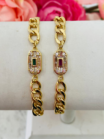 18k real gold plated chain And Cz bracelets