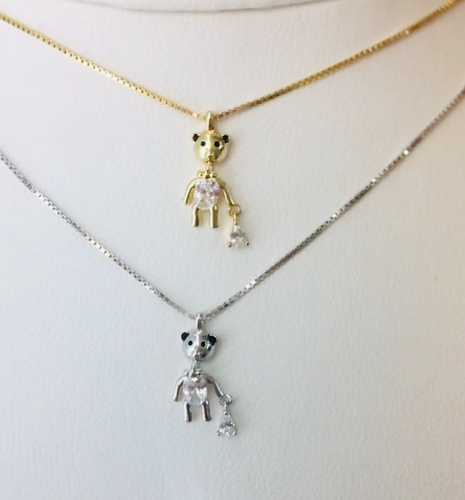 .925 Sterling Silver Bear Necklace