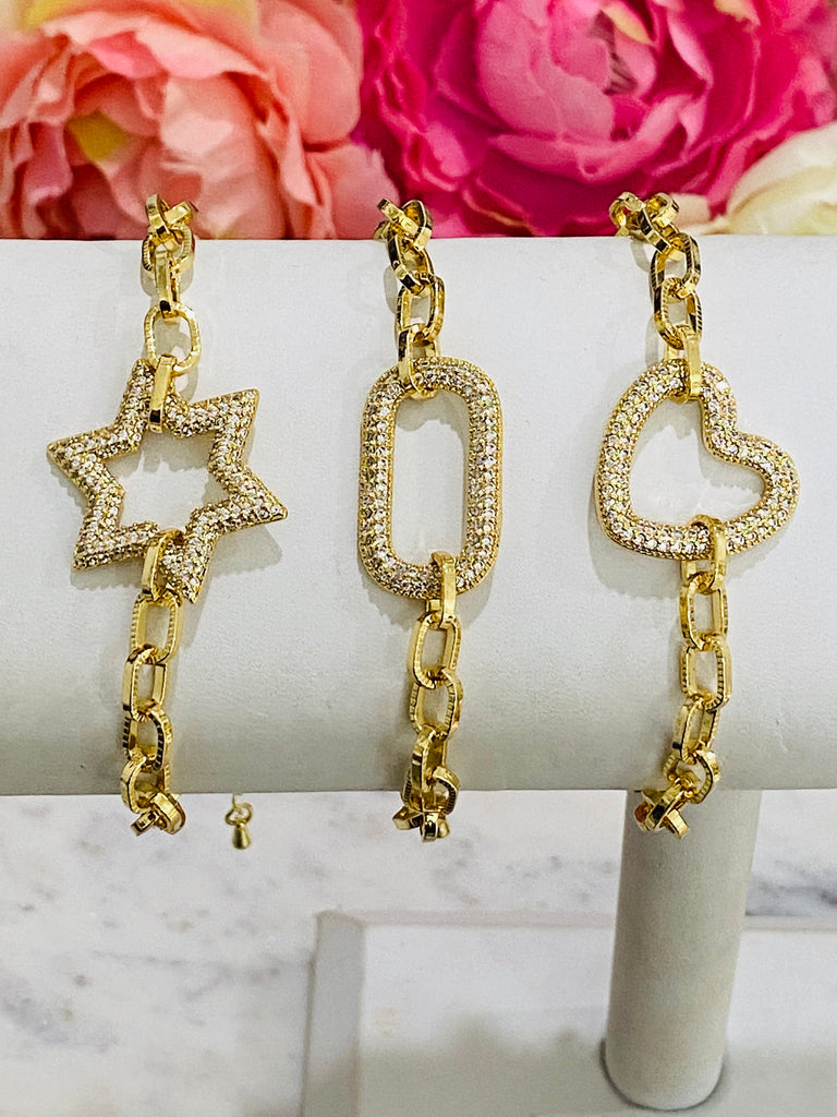 18k real gold plated star, square, or heart bracelets