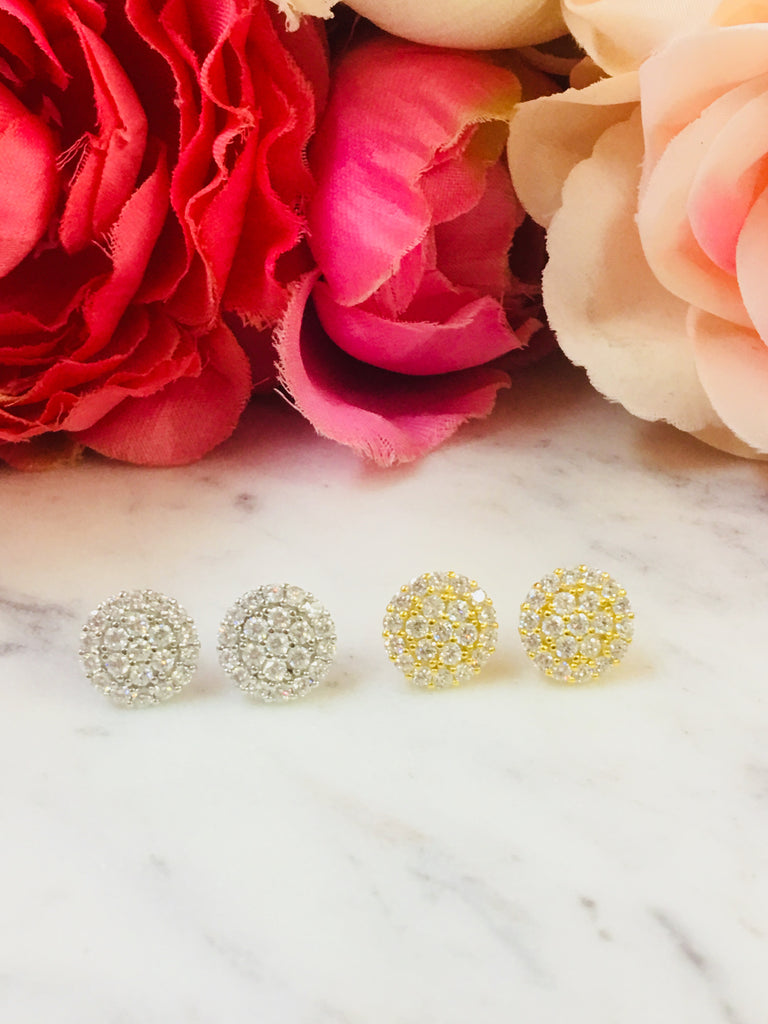 .925 Sterling Silver And Cz Zirconia Circle Earrings