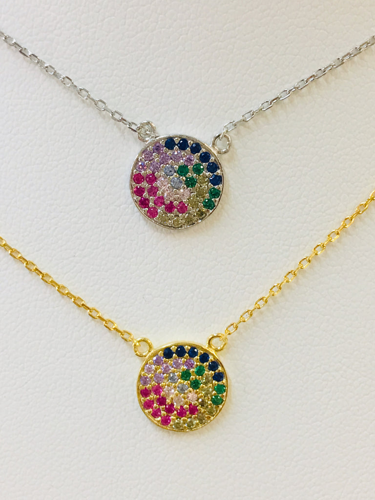 .925 Sterling Silver Rainbow Circle Necklace