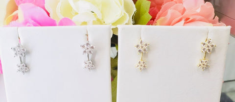.925 Sterling Silver Flower Earrings