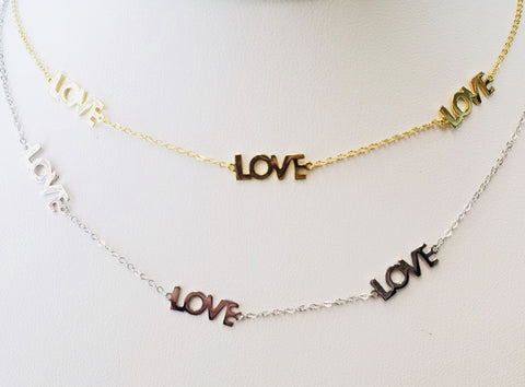 .925 Sterling Silver Love Necklace