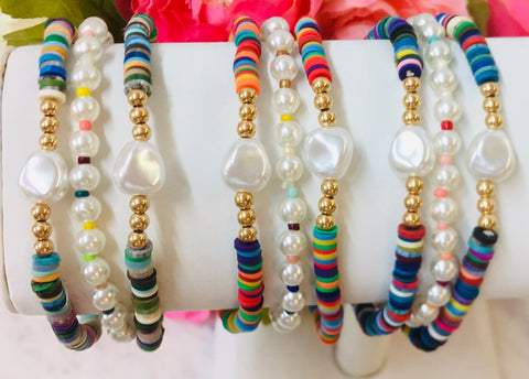 Fashion Pearl Multicolor 3 Pcs set Bracelet