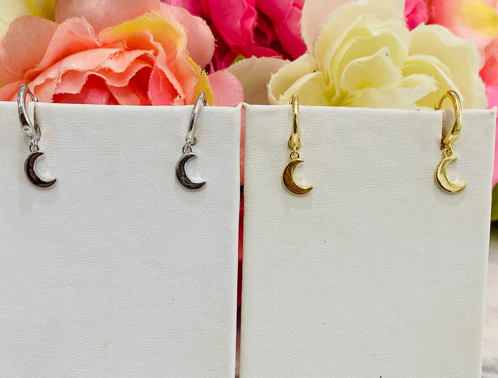 .925 Sterling Silver Moon Hoop Earrings