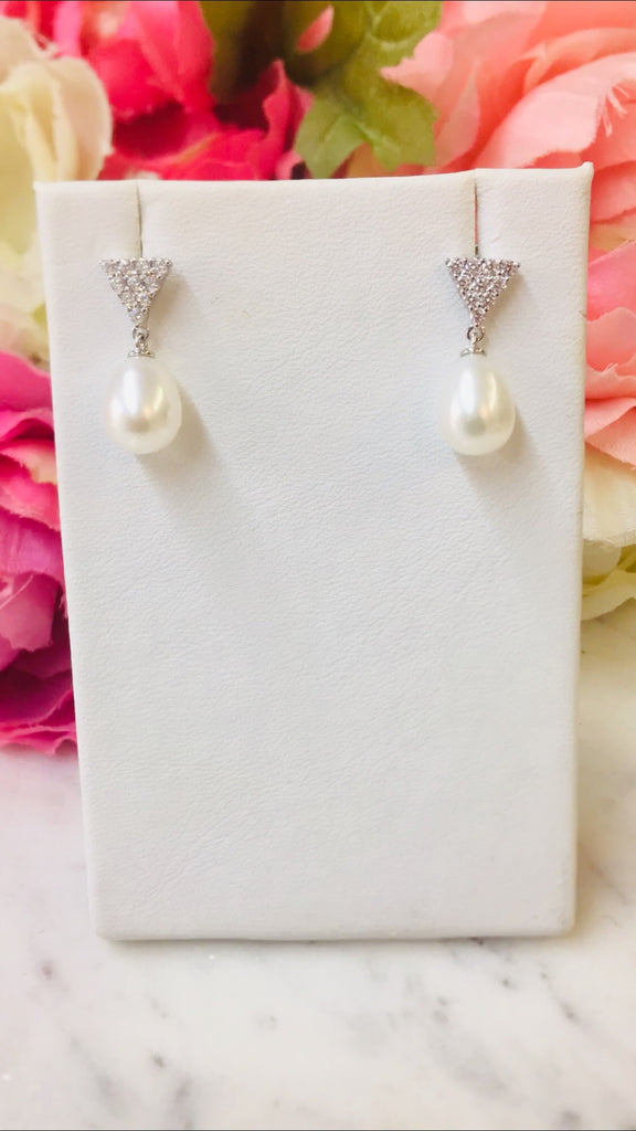 .925 Sterling Silver Triangle And Dangling Freshwater Pearl Earrings