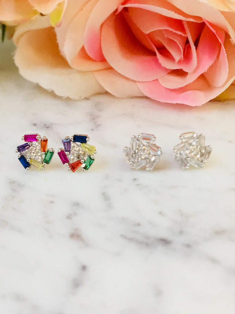 .925 Sterling Silver And Cz Earrings