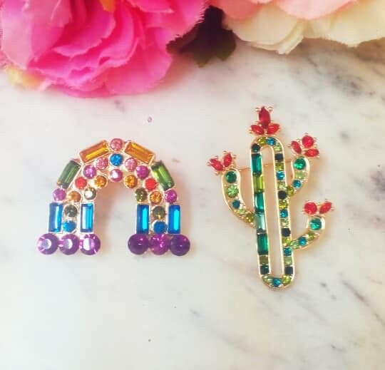 Fashion Baguette Rainbow And Cactus Pin Set