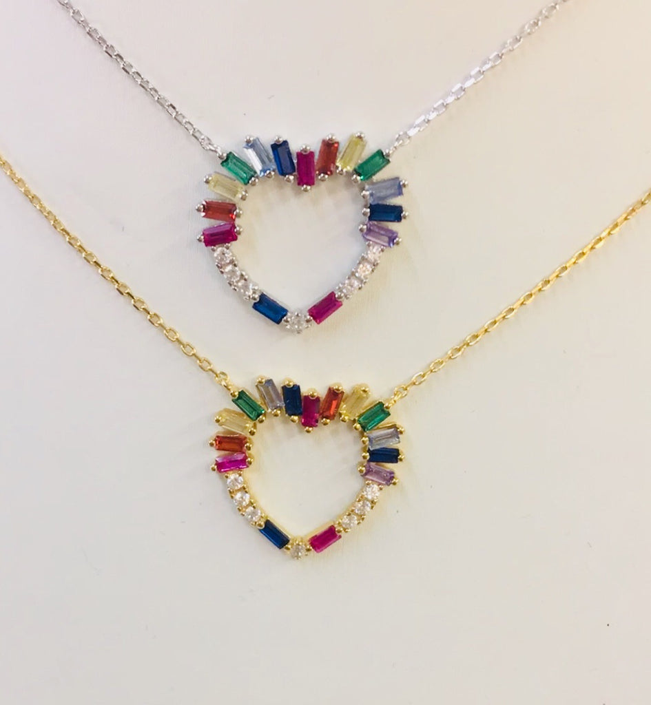 .925 Sterling Silver And Cz Multicolor Heart Necklace