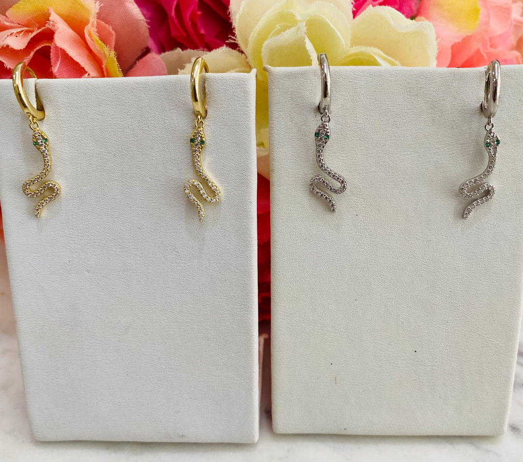 .925 Sterling silver snake hoop earrings