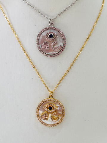 .925 Sterling silver evil eye , heart , and horse shoe pendant necklaces