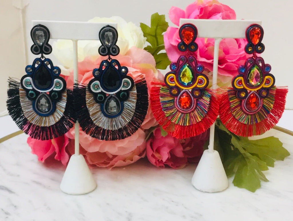Fashion Tassel And Glass Stone Earrings