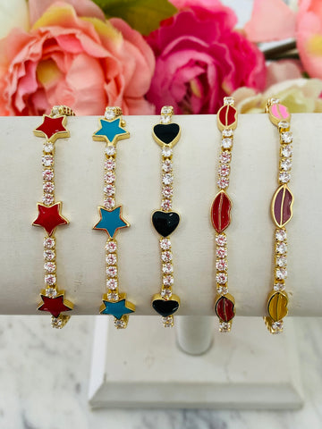 18k real gold plated and cz bracelets