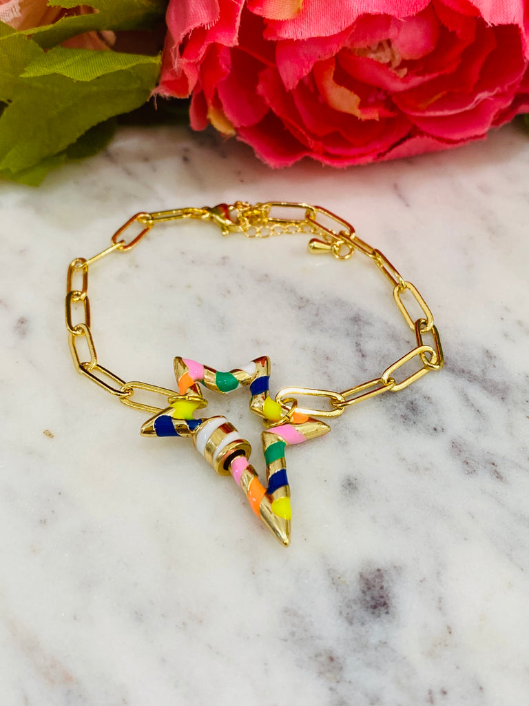 18k Real Gold Plated Multicolor Star Bracelet