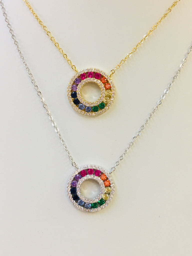 .925 Sterling Silver Circle Rainbow Necklace