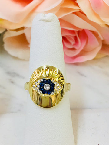 .925 Sterling Silver / Gold Plated Evil Eye Ring