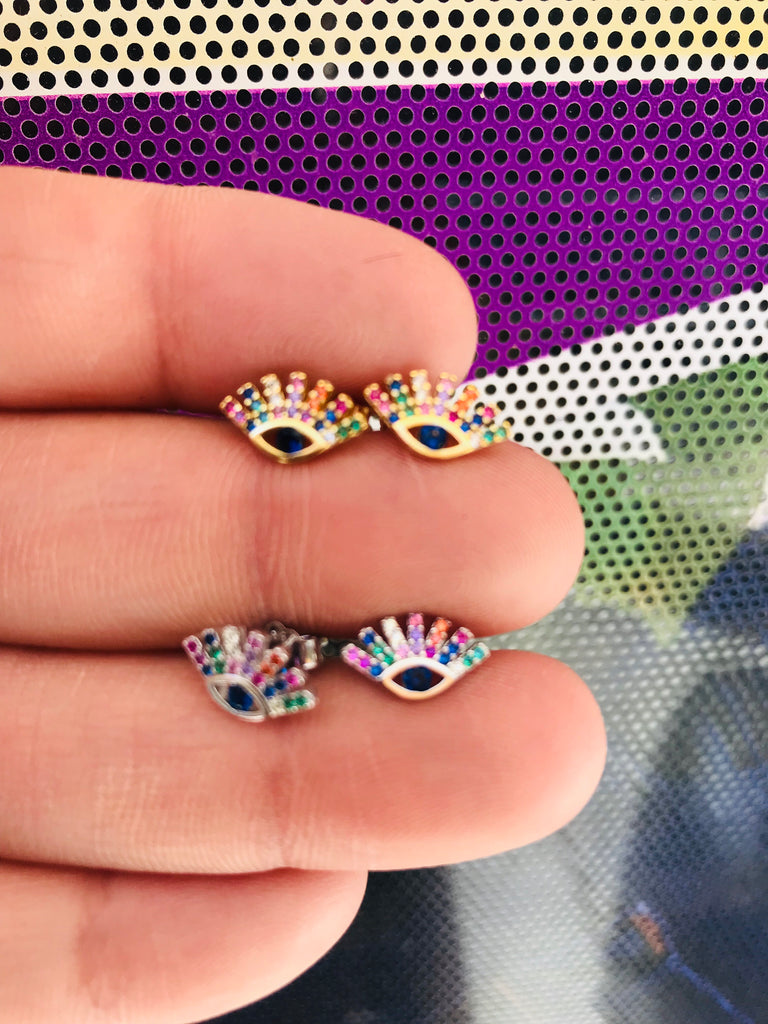 .925 sterling silver multicolor eye with lashes earring