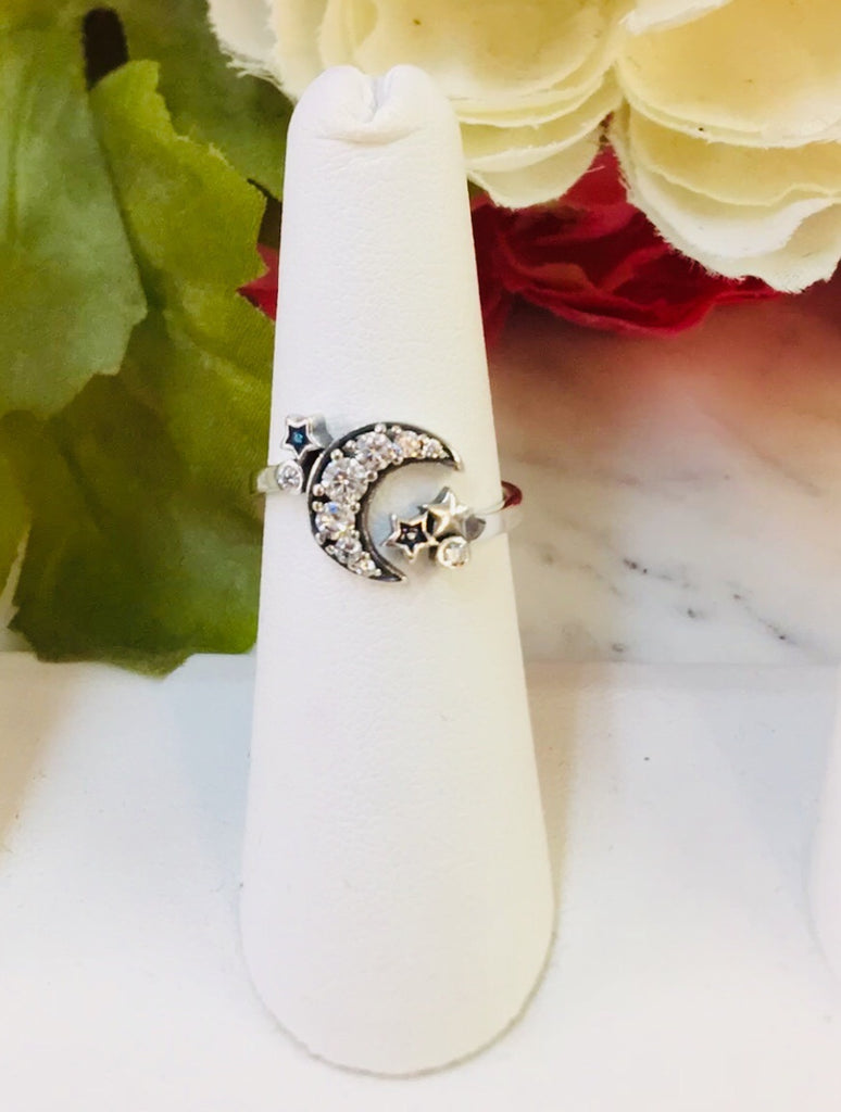 .925 Sterling Silver Moon And Star Rings