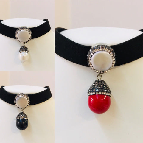 Leather With Natural Stone Choker