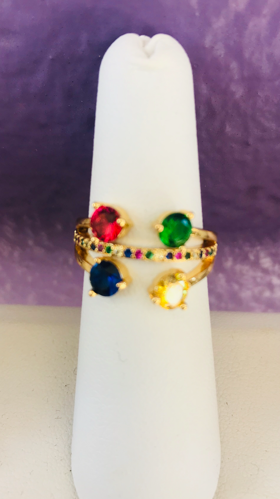 Rhodium multicolor ring