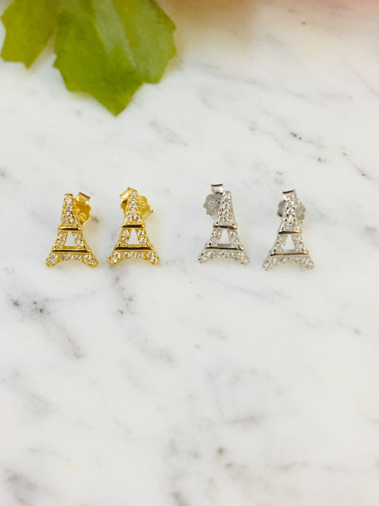 .925 Sterling Silver Eiffel Tower Earrings