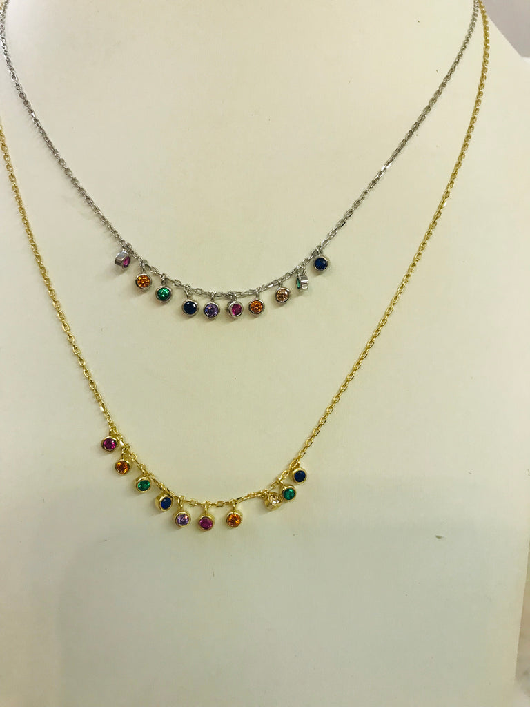 .925 sterling silver multicolor necklace