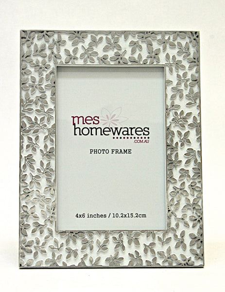 Photo Frame Silver Leaves 4×6