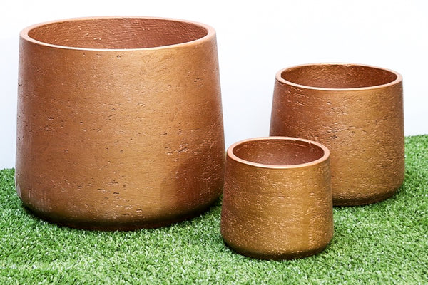 Squash Pot Metallic Bronze Set of 3. Min order 4 sets