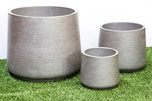 Squash Pot Metallic Silver Set of 3. Min order 4 sets
