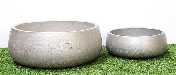 Round Rough Cement Pot Set of 2  - Natural cement - Metalic silver