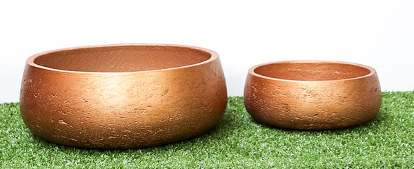 Round Rough Cement Pot Set of 2  - Natural cement - Metalic bronze