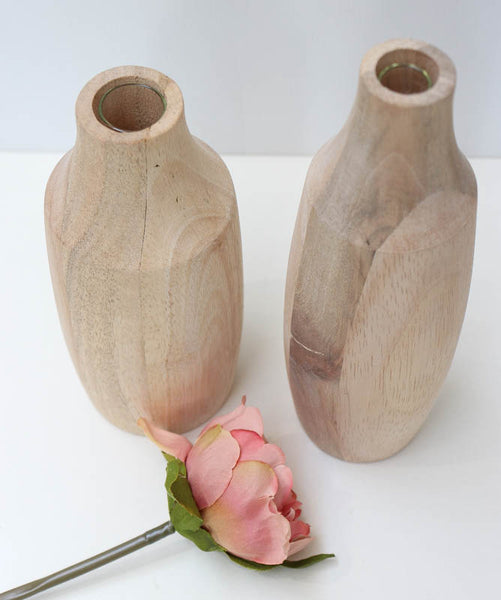Wooden Vase D7xH21 with Glass Tube