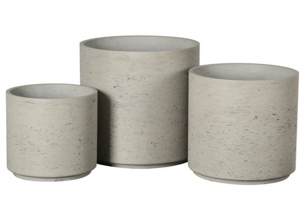 Short Cylinder Set of 3  Grey Washed